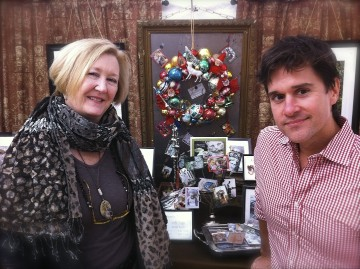 "This is me with Brent Ridge of the Fabulous Beekman Boys. It was taken by Josh Kilmer-Purcell (the other Beekman) in the Glittermoon booth at Country Living Magazine's Fair in Atlanta, October 2011. I will be back there this Fall, too. Brent and Josh loved the wreaths and ""tweeted"" them. It was terrific to meet them; they were very nice. I was already a fan having reead Josh's book: The Bucolic Plague. Check out their website: Beekman 1802."