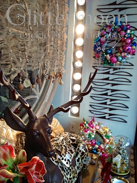 The Christmas window at Zeze Flowers in NYC featuring Glittermoon Vintage Christmas wreaths! 2013