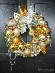 """Fabulously rich, Gold Dust is a wreath for the sophisticate. 17"""" $215 ** SOLD **"""