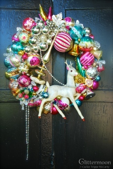 """HOLIDAY EXTRAVANZA. A large wreath that makes quite a statement. With 3 huge pieces from my ollection. Overall height is about 25"""" tall; width about 22"""". Wow. $375, including storage bag. ** SOLD **"""