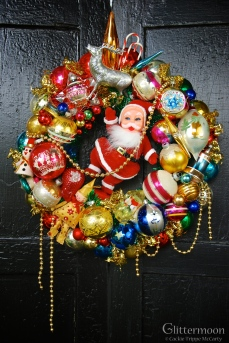 """SANTA'S HAPPY DANCE Santa's doing a happy little jig among cheerful colors. 17"""" $195 ** SOLD **"""