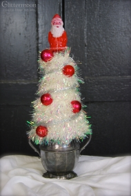 "Sugar Santa Topiary About 13 1/2"" tall, mounted on silver-plate sugar bowl $35 ** SOLD **"