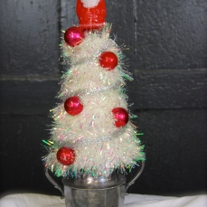 "Sugar Santa Topiary About 13 1/2"" tall, mounted on silver-plate sugar bowl $35 ** SOLD **"