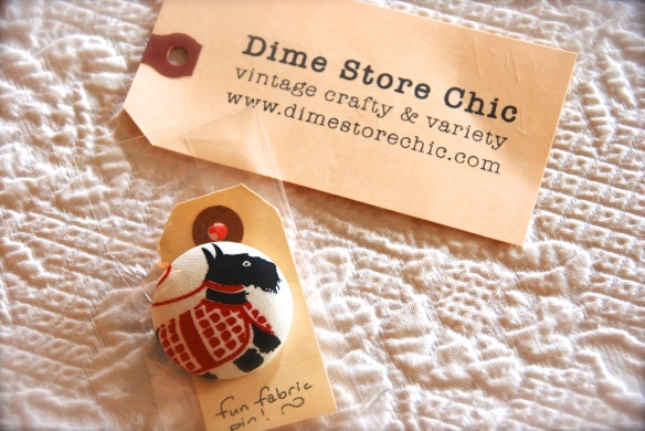 Scottie pin made by Dime Store Chic