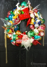 """HAPPY MEMORIES. Childhood memories come spilling back with this fun wreath. About 17"""" diameter. $225, including storage bag. ** SOLD **"""