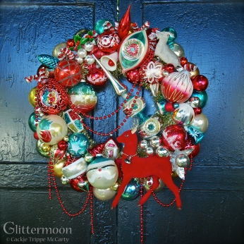 The Beekman Place Red Swagger wreath made especially for the Beekman 1802 Holiday website. An explosion of rich reds and teals with a huge red deer at the bottom. $345 *SOLD*