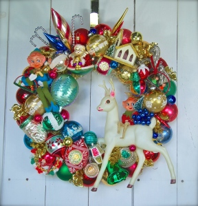 """Custom wreath made with some of the client's own ornaments. 20"""" diameter $225 *SOLD*"""