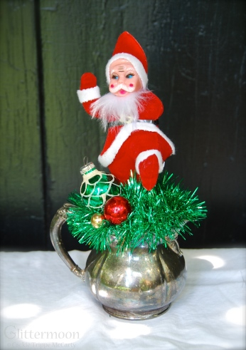 DANCING SANTA MINI TOPE. Santa cuts a rug on top of an old silverplate sugar bowl. $24 SOLD