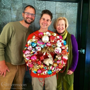 Josh and Brent, the Fabulous Beekman Boys, with me in their store, Beekman 1802 Mercantile, Sharon Sprigns, NY. I made this wreath especially for them to hanf in the shop for Holiday 2014. I also made wreaths which were featured on the Beekman1802.com holiday website. So exciting!