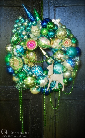 """SEA HOLLY. A paean to the beautiful colors of the sea with a holiday twist. 17"""" diameter $265 SOLD"""