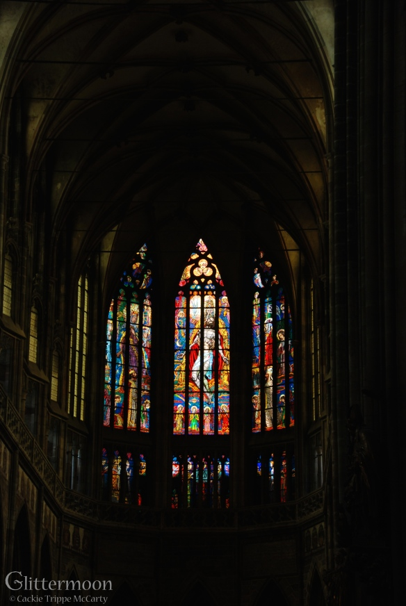 Stained glass window in St. Stephen's, Prague