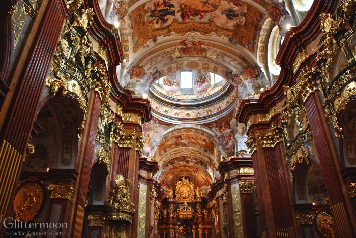 The incredibly ostentatious - dare I say it? - gaudy interior of the monks' church at Melk Abbey