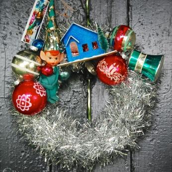 "Petite Pixie mini wreath, approx 10"" diameter $65 *SOLD*"