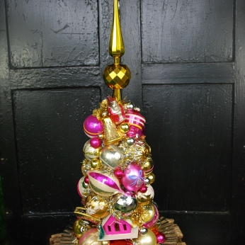 Pink Gold: A stunner in hot pinks and bright gold with a shiny unbreakable gold topper. This would make quite the holiday centerpiece - or leave it out all year long! $295 *SOLD*