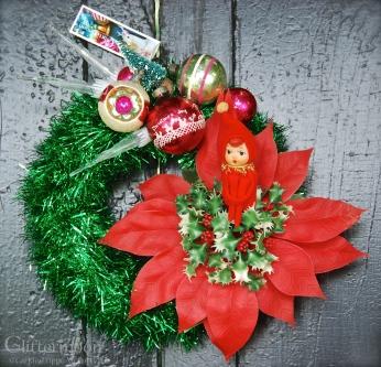 Pixie Poinsettia mini wreath - $65 *SOLD *