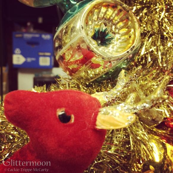 Big red reindeer says hello.