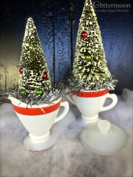 Red-rimmed vintage milk glass sugar and creamer with trees $20 & $24 *SOLD*