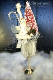 Charming mistletoe fairy and tree in a silverplate goblet $36