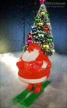 Vintage Santa on skis candy container with a decorated bottlebrush tree in his sack $42 *SOLD*