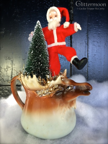 Fab old elk mug with a dancing, poseable Santa and a treee $36 *SOLD *