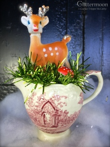 Sweet little Bambi in an old pink transferware creamer $36 *SOLD*