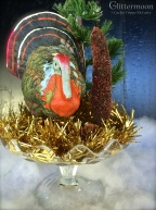 Vintage German turkey with old trees in a glass compote dish. $42 *SOLD*
