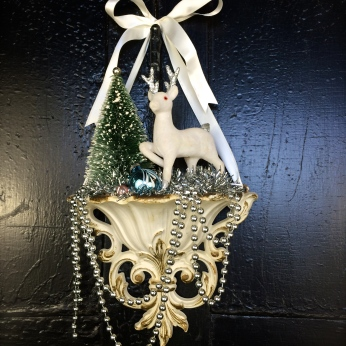 Elegant wall pocket with all vintage materials, even the ribbon! $75 *SOLD*