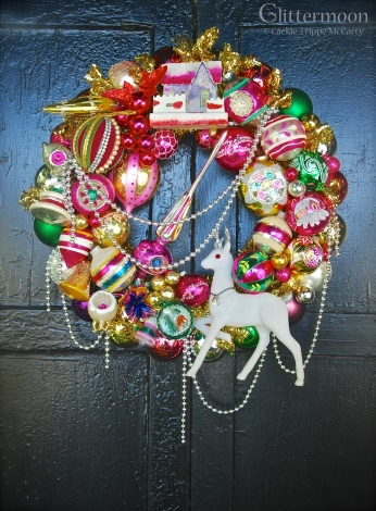 "Pink Joy wreath. What a statement for all you hot pink and festive color people! 20"" diamater $295 with storage bag * SOLD *"