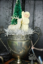 An Aesthetic Movement sugar bowl with a snow baby, reindeer, and bottlebrush tree.
