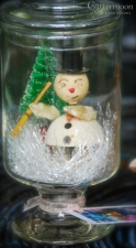 Wonderful Japan nodder snowman in a glass jar