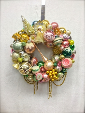 """Samdra's Memoreis: Custom wreath made with some of the customer's own ornaments. Approx. 17"""" diameter. *SOLD*"""