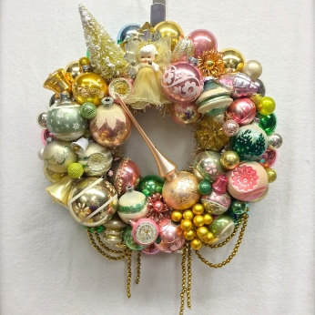 "Samdra's Memoreis: Custom wreath made with some of the customer's own ornaments. Approx. 17"" diameter. *SOLD*"