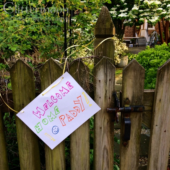 This sign was put on the back gate by our next-door neighbors.  When I saw the yellow ribbon, I started to cry.