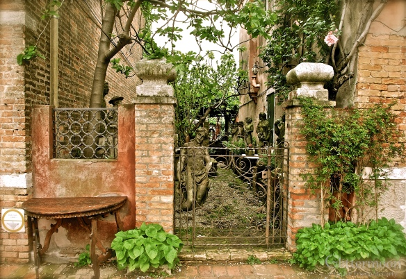 Mysterious courtyard on the island of Torcello in the Venetian Lagoon