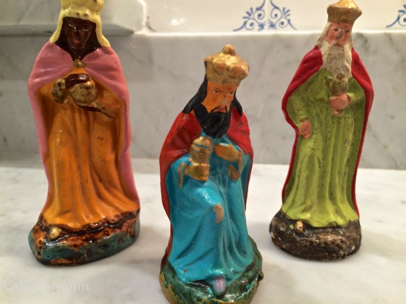 Three Wise Men from Germany. Made of papier mache and a little worn but I like them that way.