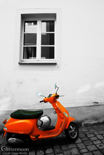 Orange Scooter. Passau, Germany