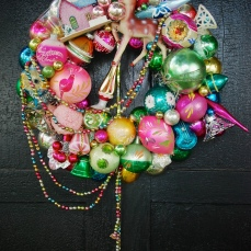 """Springtime at Christmas -I was thinking about Easter Eggs when I put this color scheme together. Sp spring-like yet it fits the bill at Christmas, too. Or leave it up all year! Approx 29"""" tall (including tail) - 19"""" wide - about 16"""" diameter - $245 *SOLD*"""